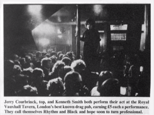 Performer Jerry Courbrinck atop the old RVT bar, 1975 unknown)
