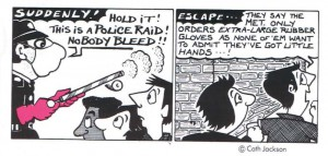 Cartoon after the 1984 RVT police raid, Cath Jackson, GALOP annual report 1986-7