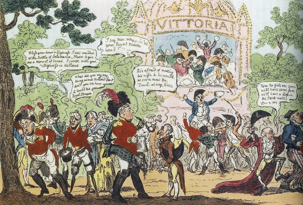 An 1813 cartoon shows the Prince of Wales puking against a tree in Vauxhall pleasure gardens