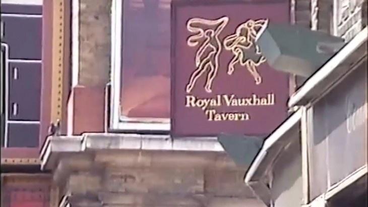 The RVT sign from the 80s showing dancing figures